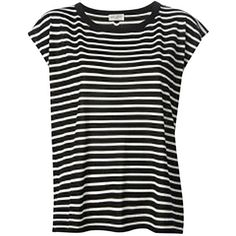 Pre-owned Saint Laurent Black Striped T Shirt (£190) ❤ liked on Polyvore featuring tops, t-shirts, none, stripe tee, yves saint laurent, black striped top, black stripe tee and yves saint laurent t-shirt