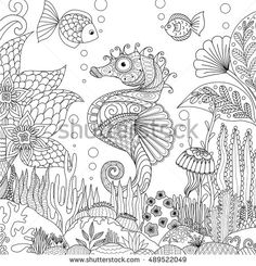 zendoodle design of seahorse swimming under ocean surrounding by beautiful corals and seaweeds for adult coloring book pages for anti stress stock vector