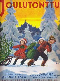 Reipas nuoriso vetää joulukuusta kotiin reellä: Rudolf Koivu ja Joulutonttu 1939.
