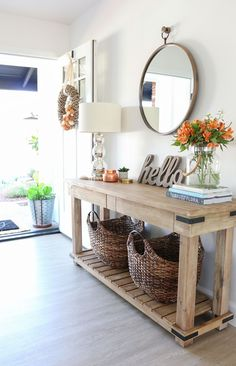Fall Entryway Decor: Easy + Simple Ways to Welcome Fall into Your Home – 1111 Light Lane - Home Accents living room Fall Entryway Decor, Entry Way Decor Ideas, Foyer Ideas, Wall Ideas, Hall Way Decor, Fall Decor, Fall Fireplace Decor, Home Entrance Decor, Faux Fireplace