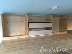 A few of you have been asking for more details on the loft closet we built for the Wild Rose Tiny House. The homeowner wanted a simple closet system in the low ceiling in the loft with a few drawers.