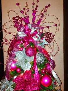 Christmas 2013  Isha's bedroom Christmas tree top  Pink & Silver  Thinking about Pink and Green Apple this year  not sure