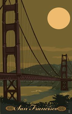 After a blissful day spent in one of the most beautiful cities in the world I will loose myself in this vintage travel poster with my two favorite things in the universe: the Golden Gate Bridge and the Moon. Baie De San Francisco, San Francisco California, Travel Ads, Travel Photos, Sf Travel, Travel Guide, Travel Booking Sites, Poster Ads, Print Poster