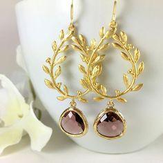 Gold Chandelier Plum Glass Drop Earrings by BlingNiks