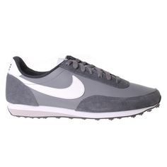 NIKE Elite Leather Trainer Mens - Dark Grey / White - The Nike Elite Leather Men's Sport Trainer is a retro classic design with a fresh take on an old-school shoe. With a trademark waffle outsole that made this trainer so iconic.