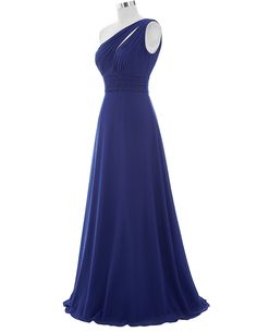One Shoulder Ruched Pleated Bridesmaid Dress - My Wedding Ideas