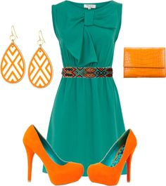 """""""teal and orange"""" by haloofember on Polyvore"""