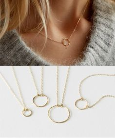 99dfb0518e6a Dainty Open Circle Karma Necklace - choose from 4 sizes - comes in 14k Gold  Fill