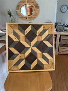 Geometric quilted patterned pallet wood wall art - Custom made to order with your choice of stain or paint colors Scrap Wood Art, Wooden Wall Art, Diy Wall Art, Pallet Wall Art, Wood Wall Decor, Pallet Wood, Rustic Wood Walls, Barn Wood, Bois Intarsia