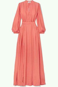 Raquel Diniz - Armonia silk-charmeuse maxi dress - Women's style: Patterns of sustainability Orange Outfits, Modest Fashion, Hijab Fashion, Fashion Dresses, Modest Dresses, Simple Dresses, Summer Dresses, Simple Dress Pattern, Maxi Styles