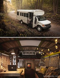 There are a lot of people around the world dreaming about tiny house and go for their dream! You will find 30 awesome examples of perfect School Bus and van conversions into tiny House - for couples, for family of for one person and so one. Bus Living, School Bus Conversion, Camper Van Conversion Diy, Bus Life, Camper Life, Tiny House Movement, Van Vw, School Bus House, Kombi Motorhome