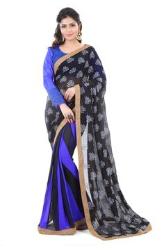 You will be the #Centre of #attention in this #attire. This Black And Blue #Faux #Georgette designer Saree is adding the #gorgeous #glamorous showing the sense of #cute and #graceful. This #attire is #beautifully #adorned with #Embo #Metallic Effect, and #fabulous #Designer work. Comes with Fabulous #Designer #blouse. 0% Polyester