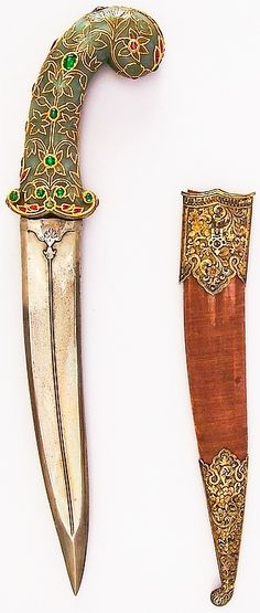 Indian khanjar, 19th century, steel, jade, gold, ruby, emerald, diamond, silver, pearl, wood, velvet, H. with sheath 15 1/4 in. (38.7 cm); H. without sheath 15 1/8 in. (38.4 cm); H. of blade 9 3/4 in. (24.8 cm); W. 3 in. (7.6 cm); D. 1 1/8 in. (2.9 cm); Wt. 18.9 oz. (535.8 g); Wt. of sheath 2.9 oz. (82.2 g), Met Museum, Bequest of George C. Stone, 1935.