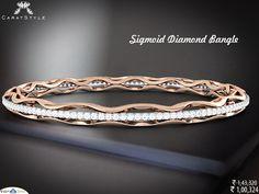 The playful design of Sigmoid diamond bangle.   #diamond #gold #bangle #style #stylis #fashionable #fashionstyle #exquisite #elegant #love #indianstreetfashion