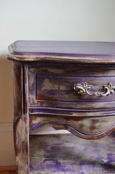 Gypsy Purple chalk painted Bohemian nightstand by BlackSheepMill