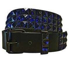 Luxury Divas Blue & Black Speckle Studded Spike Pyramid Black Belt Size Large
