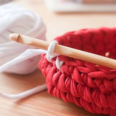 Now that you've made some t-shirt yarn, use it to crochet a basket. My tutorial shows you how.