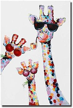 Textured thick oil painting, lovely giraffe baby with his parents which is perfect choice for kids room decoration. Impasto wall painting home Room Wall Painting, Family Painting, Back Painting, Nursery Canvas, Nursery Art, Giraffe Family, Giraffe Baby, Girraffe Painting, Canvas Artwork