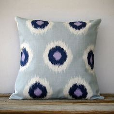 16in DECORATIVE PILLOW Ikat Dot Print - Mint, Navy, White and La