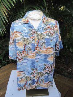 4f789cc3 Hawaiian ALOHA shirt L pit to pit 24 COMO SPORT Italian tropical palms  cotton | eBay