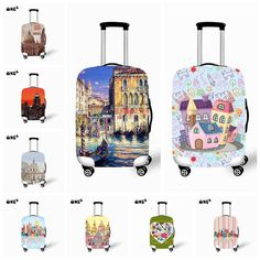 Elastic Water Repellent Country Printed Protective Luggage Cover for Travel 22-26 Inch Suitcase Dust Rain Cover Free Shipping Luggage Cover, Travel Luggage, Luggage Bags, Travel Bags, Travel Accessories, Suitcase, Rain, Free Shipping, Country