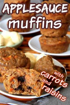 Applesauce Muffins are the perfect breakfast or snack. They also happen to be healthy carrot muffins with raisins. They're egg-free and dairy-free and the sweetness is just right. Raisin Muffins, Applesauce Muffins, Applesauce Recipes, Egg Free Muffins, Healthy Carrot Muffins, Breakfast Dishes, Vegan Breakfast, Breakfast Recipes, Deserts