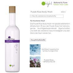 Das natürliche Purple Rose Body Wash mit über 94,6% natürlichen Inhaltsstoffen und speziell selektiertem ätherischem Öl der Purple Rose pflegt und reinigt die trockene Haut mild. Spendet Feuchtigkeit und sorgt für geschmeidige Haut. #Naturkosmetik Green Bodies, Purple Roses, Body Wash, Wine, Drinks, Bottle, Shower Gel, Dry Skin, Make A Donation