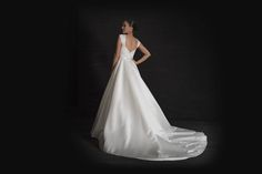 Grace Philips 2017 Ophelia A full satin ball gown wedding dress with beaded embellishment touches and two-metre long train to the back.