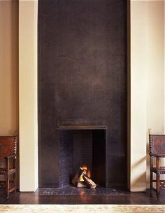modernist steel fireplace