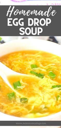 This Homemade Egg Drop Soup Recipe is just like your favorite Chinese takeout soup. With just a few simple ingredients and about 10 minutes, you can have warm and comforting egg drop soup at home. Homemade Egg Drop Soup, Easy Homemade Soups, Asian Recipes, Healthy Recipes, Chinese Soup Recipes, Healthy Soup, Tasty Soup Recipes, Simple Soup Recipes, Chinese Desserts
