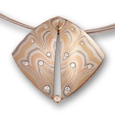 Mokume Diamond Butterfly Necklace, Mokume Necklaces and Pendants, George Sawyer