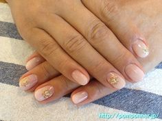 Gradation nail pink beige, studded with
