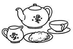 Vintage tea set embroidery pattern | The Graphics Fairy