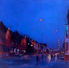 Linthorpe Road South, Night II by Andrew Gifford. Your Paintings, Landscape Paintings, Landscapes, Nocturne, Art After Dark, Road Painting, Night Shadow, Middlesbrough, Night City