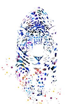 Watercolor leopard panter art print animal by WatercolorMary