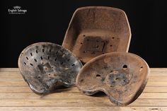 Old Cast Iron and Pressed Steel Tractor Seats