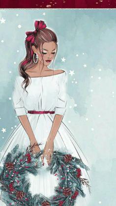 New Fashion Art Wallpaper Iphone Ideas Christmas Drawing, Christmas Paintings, Christmas Art, Vintage Christmas, Xmas, Illustration Noel, Christmas Illustration, Illustrations, Mode Poster