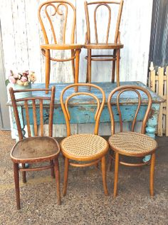 Blonde Mismatched Bentwood Chairs