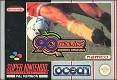 90 Minutes: European Prime Goal is a Super Nintendo Entertainment System soccer video game. The player(s) get to play in either exhibition, tournament, or in the all-star mode. The view is from a left-right perspective and the national flags of sever Soccer Video Games, Super Nintendo Games, European Football, National Flag, Entertainment System, Box Art, Football Team, Goals, Entertaining