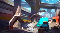 Streamline concept-art : under the overpass, Sylvain Sarrailh on ArtStation at https://www.artstation.com/artwork/z0AdL