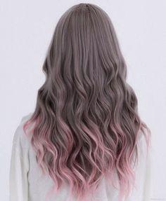 Dip die pink curls long brunet