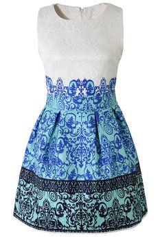 Baroque Embossed A-Line Sleeveless Dress