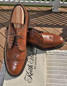 NOS 50s Keith Highlander Longwing Scotch Grain Brogue Wingtips Mens Dress Shoes