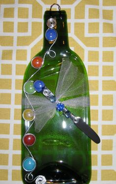 Melted Wine Bottle, Recycled, Upcycled, Spoon Rest, Slumped Wine Bottle Cheese Tray and Coordinating Spreader with Bead and Wire Design.