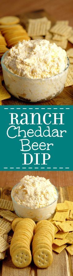 Ranch Cheddar Beer Dip - Perfect for a party and football games, this Ranch Cheddar Beer Dip has creamy ranch and cream cheese mixed with the bite of sharp cheddar and bitter beer to make an outstanding drool-worthy dip recipe! Super easy dip recipe and a Beer Recipes, Dip Recipes, Appetizer Recipes, Cooking Recipes, Recipies, Cheesy Recipes, Fall Recipes, Yummy Recipes, Hummus