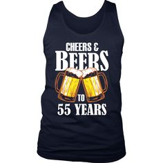 Men's Cheers and Beers to 55 Years Tank Top - 55th Birthday Gift