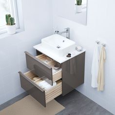 GODMORGON Sink cabinet with 2 drawers, high gloss gray, 23 Limited Warranty. Read about the terms in the Limited Warranty brochure. Ikea Bathroom Vanity, Bathroom Furniture, Bathroom Wall, Bathroom Ideas, Bathroom Yellow, Bathroom Black, Plastic Drawers, Large Drawers, Cabinet Drawers