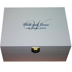 White Wooden Wedding Keepsake Box Monogram Personalised with names and date