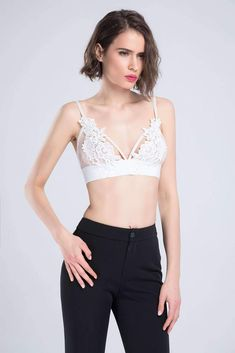 155e3c9c5d Floral Embroidery Patch Mesh Triangle Bralette Top