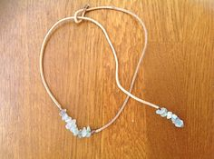 Leather necklace with fluorite chips, can wear it in two different ways